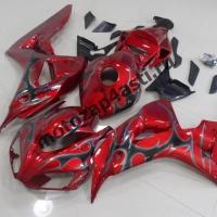 Комплект мотопластика Honda CBR1000RR 2006-2007 Красный с серым огнем.