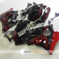 Комплект пластика Honda CBR600FS 91-94 Черный с красным пламенем.