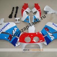 Комплект пластика Honda RVF400 Бело-красно-сине-голубой.