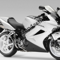 Комплект мотопластика Honda VFR800 02-12  Черно-Белый.
