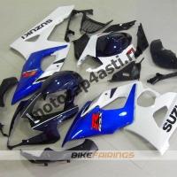 Комплекты пластика Suzuki GSXR1000 05-06 Бело-черно-синий.