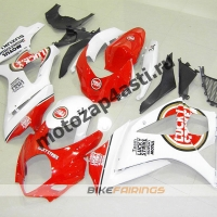 Комплекты пластика Suzuki GSXR1000 07-08 Lucky Strike Бело-красный.