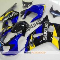 Комплект мотопластика Suzuki GSXR600-750 01-03,GSXR1000 00-02 Черно-сине-желтый.