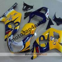 Комплект мотопластика Suzuki GSXR600-750 01-03,GSXR1000 00-02 Бело-сине-желтый.