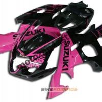 Комплект пластика Suzuki GSXR600-750 04-05 Черно-розовый.