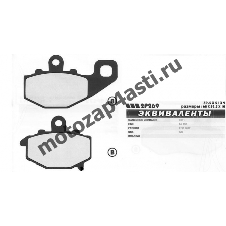 Колодки тормозные 2006, Соответствуют Артикулу: FA192(EBC), 2p-269(Nissin)
