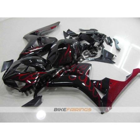Комплект пластика Honda CBR1000RR 2006-2007 Черный с огнем.