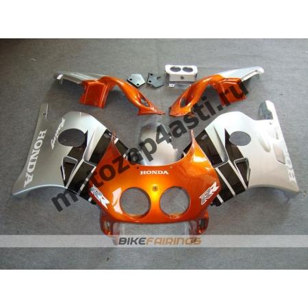 Комплект Мотопластика Honda CBR250 MC22 Черно-Оранжево-Серебристый.