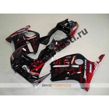 Комплект Мотопластика Honda CBR250 MC19 Черный с красным огнем.