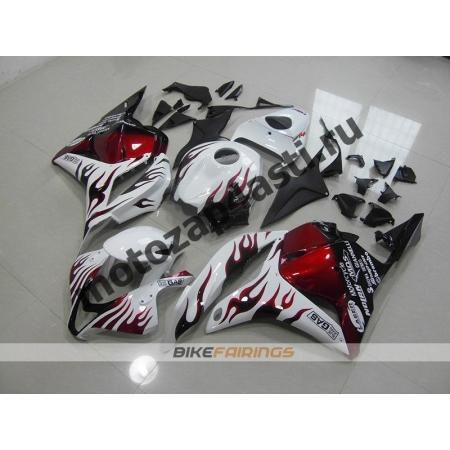 Комплект Мотопластика Honda CBR600rr 09-12 Белый с красно-черным пламенем.