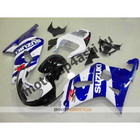 Комплект мотопластика Suzuki GSXR600-750 01-03,GSXR1000 00-02 Черно-сине-белый.