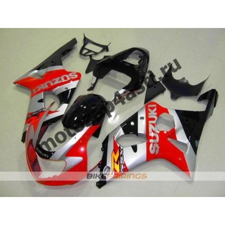 Комплект мотопластика Suzuki GSXR600-750 01-03,GSXR1000 00-02 Черно-серо-красный.