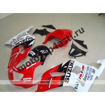 Комплект мотопластика Suzuki GSXR600-750 01-03,GSXR1000 00-02 Черно-бело-красный.