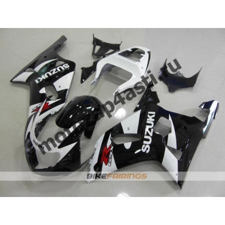 Комплект мотопластика Suzuki GSXR600-750 01-03,GSXR1000 00-02 Черно-белый.