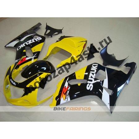 Комплект мотопластика Suzuki GSXR600-750 01-03,GSXR1000 00-02 Черно-желтый-2.