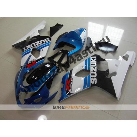 Комплект пластика Suzuki GSXR600-750 04-05 Черно-бело-синий.