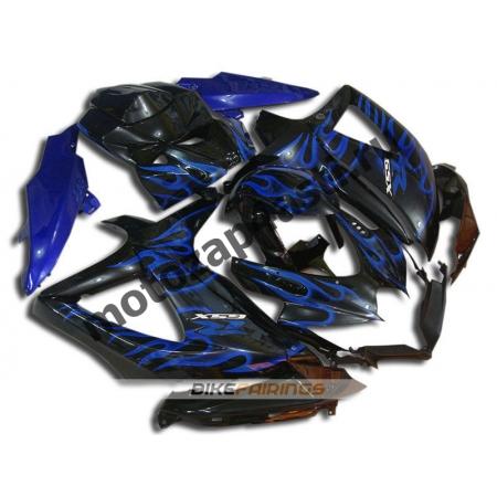 Комплекты пластика Suzuki GSXR600-750 08-09 Черный с синим огнем.