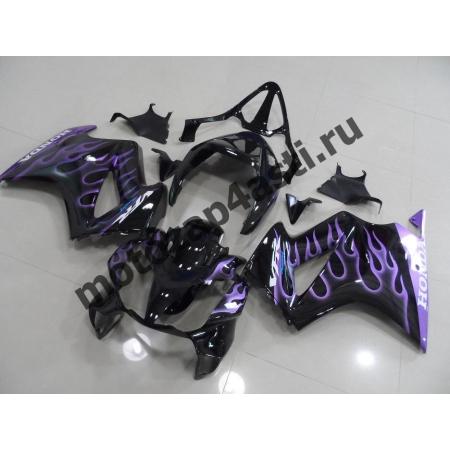 Комплект мотопластика Honda VFR800 02-12  Черный с фиолетовым огнем.