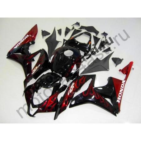 Комплект Мотопластика Honda CBR600RR 07-08 Черный глянцевый с красным огнем.